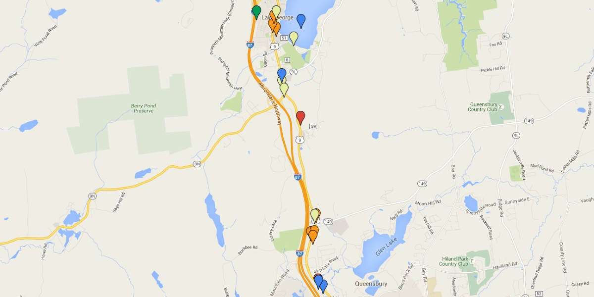Map of Lake George Attractions