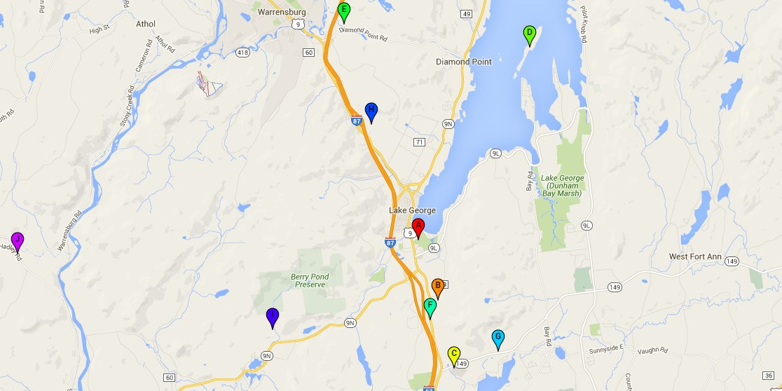 Map of Lake George campgrounds