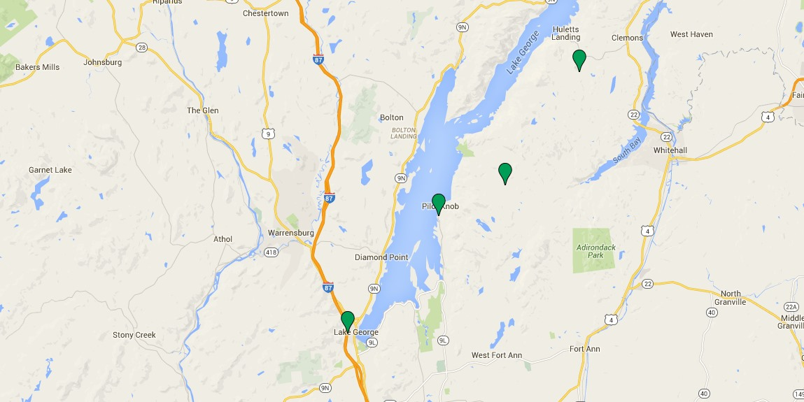 Map of Lake George hiking