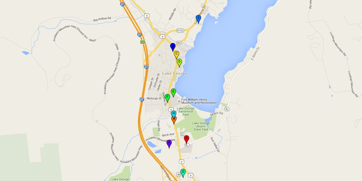 Map of Lake George hotels