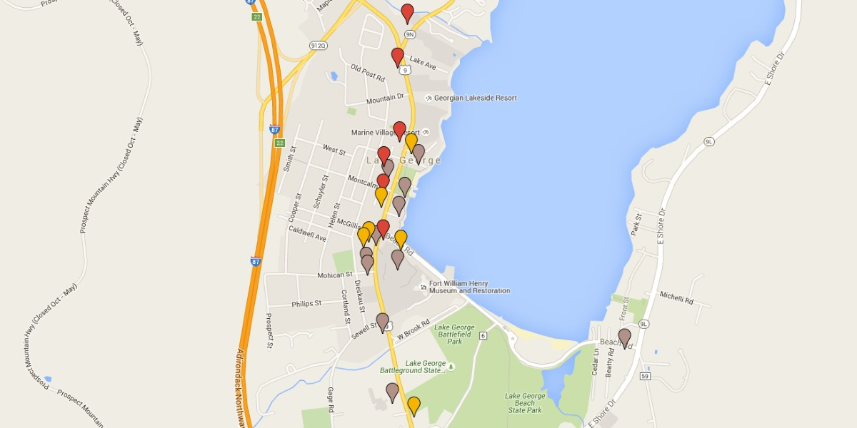 Map of Lake George Restaurants